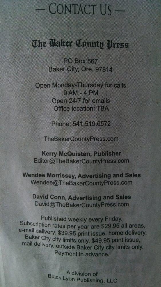 The Baker County Press: Baker City, OR