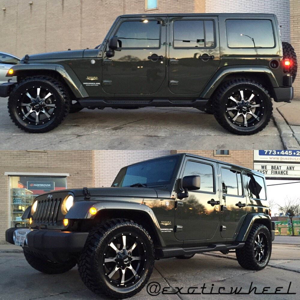 Jeep Wrangler Sahara on 20 inch Moto metal off-road wheels and tires