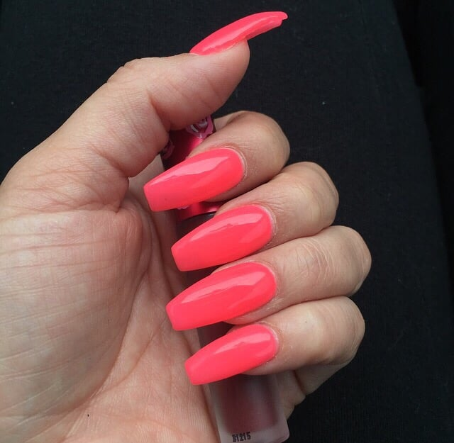 Coffin style hot pink gel acrylic nails - Yelp