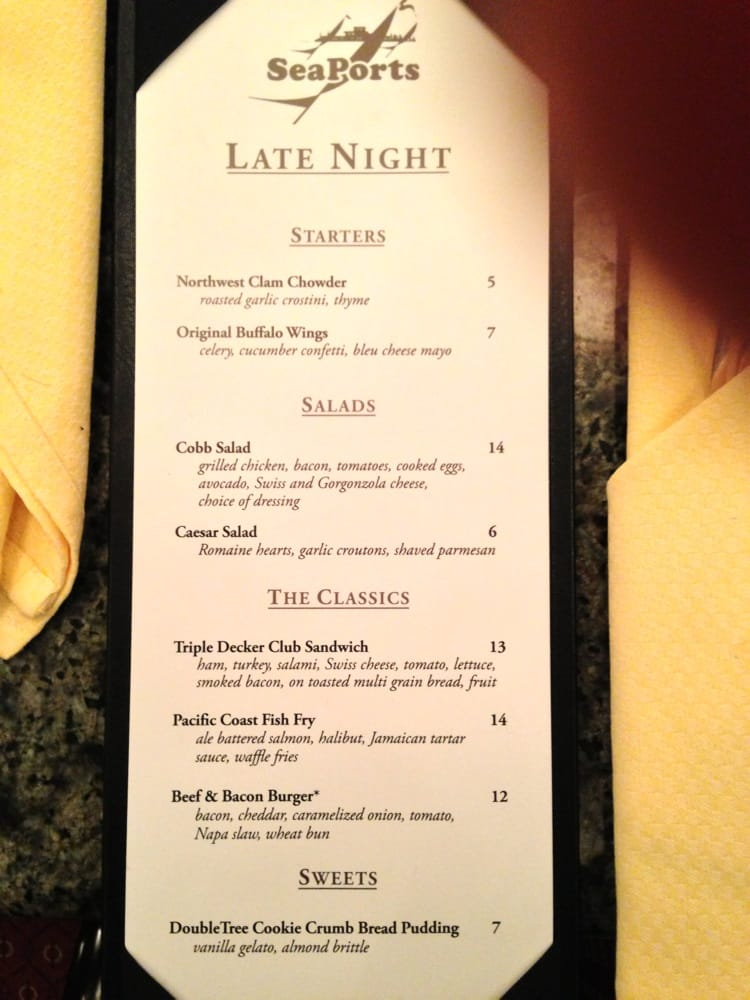 (Rather limited) late night food menu - Yelp