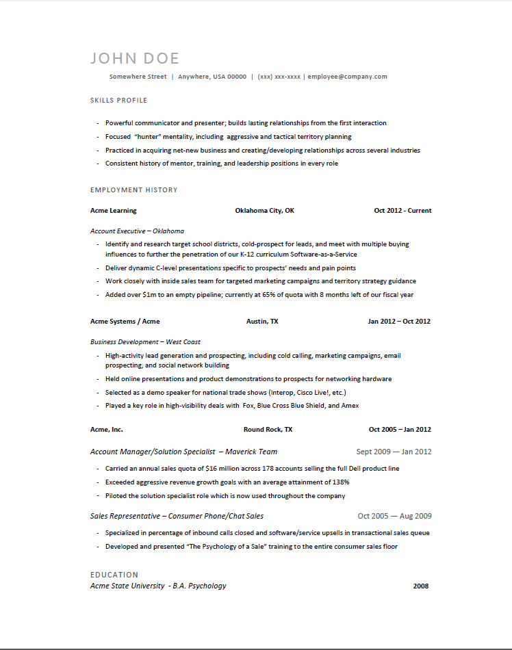 Sample Resume Drafts Geeknicco