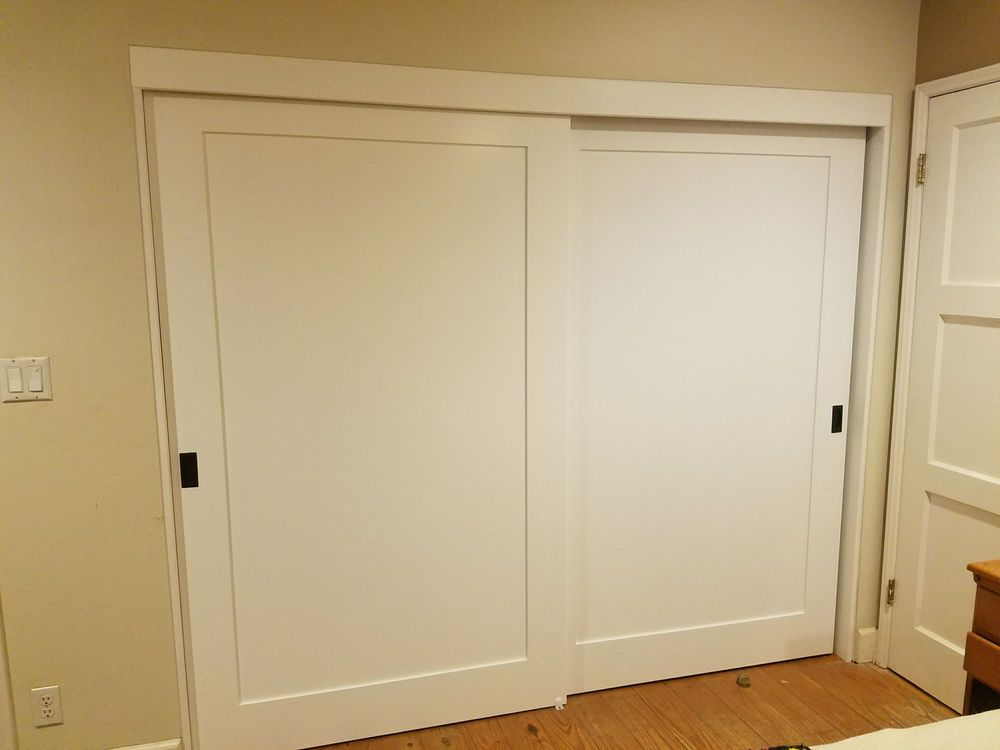 My Gorgeous Shaker Style Closet Doors With Rubbed Bronze