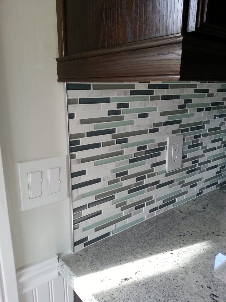 Up close view of the backsplash tile. Metal trim purchased at Tile ...