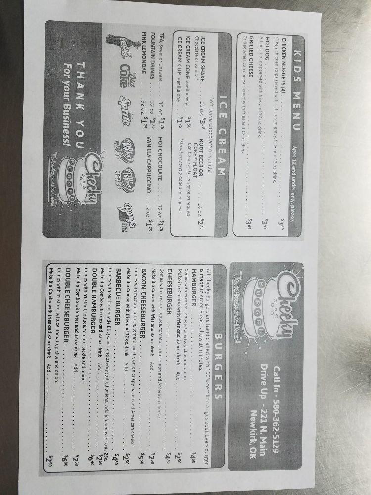 Cheeky Burger: 221 N Main St, Newkirk, OK