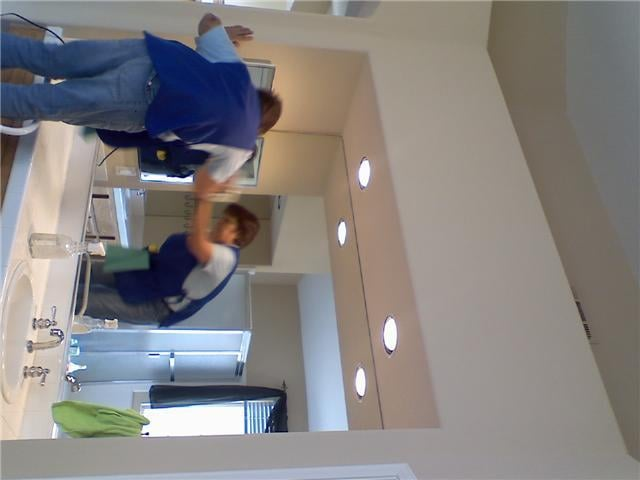 Finishing a residential property bathroom her for Bathroom cleaning companies