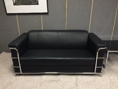 Le Corbusier Style Loveseat Leather Black Frame Chrome Dims 71 W X 32 D X 30 H Sale Price