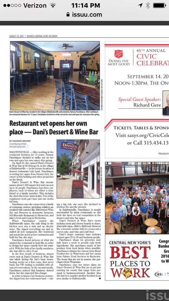 Dani's Dessert and Wine Bar: 56 Oswego St, Baldwinsville, NY