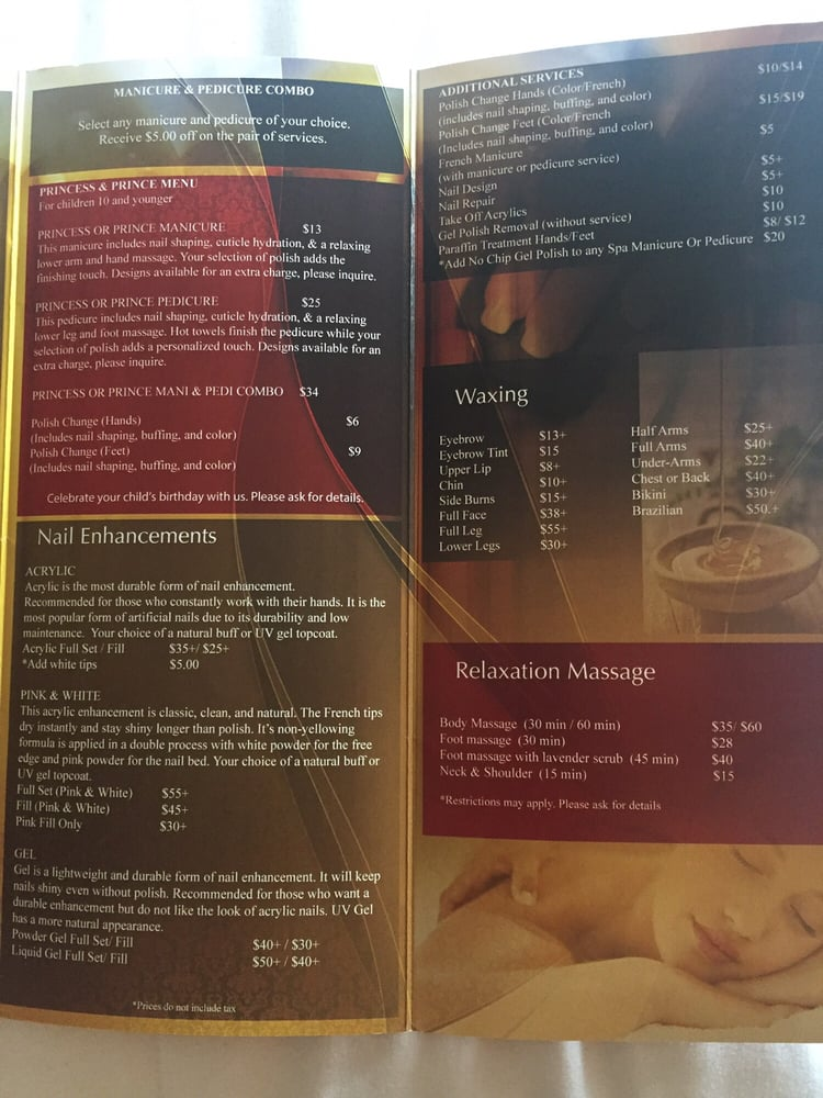 Menu Of Services As Of 08 2016 Yelp