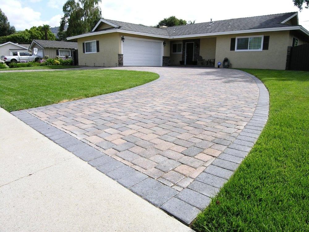 Cream Brown Charcoal I Pattern Circular Driveway With: semi circle driveway designs