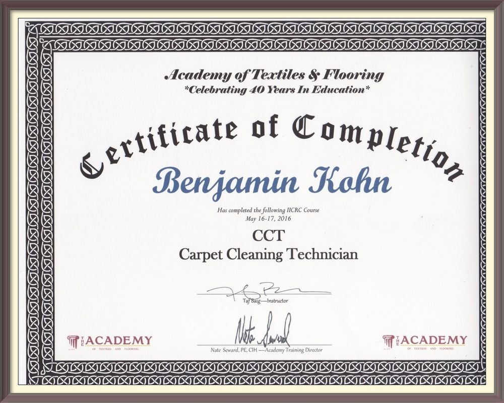 Carpet Cleaning Technician Course Completion Certificate Yelp