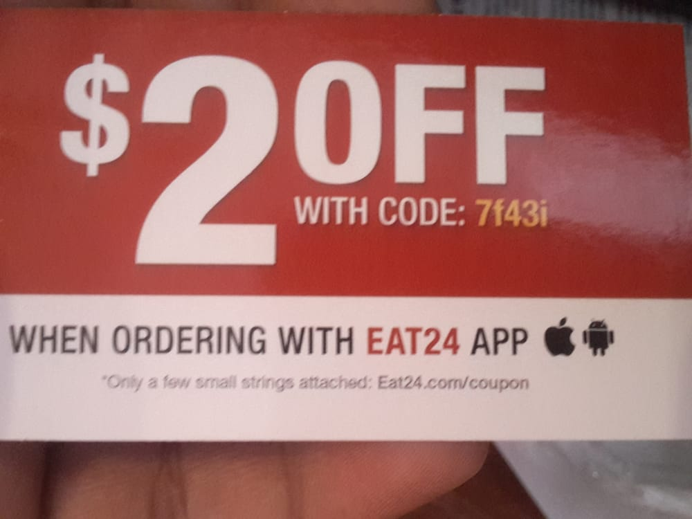 Coupon For Online Order Only Through Eat24 Available Code Is7f43i Yelp