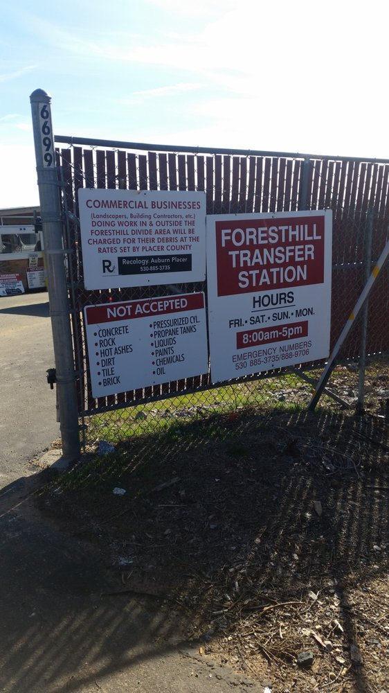 Foresthill Transfer Station: 6699 Patton Rd, Foresthill, CA