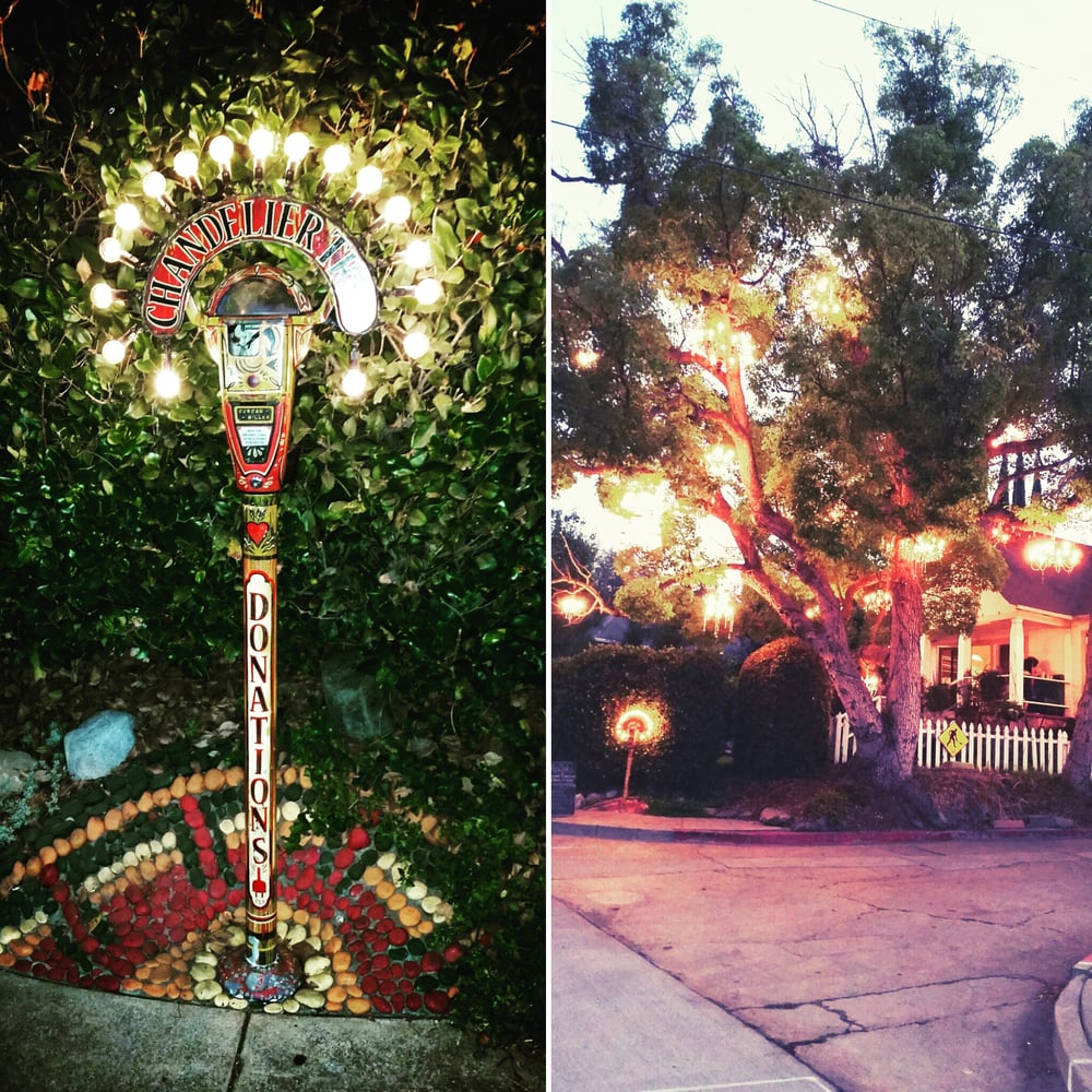 Parking meter for donation and the chandelier tree - Yelp
