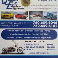 Quick ez auto registration registration services 850 e vista photo of quick ez auto registration vista ca united states our our business card reheart Image collections