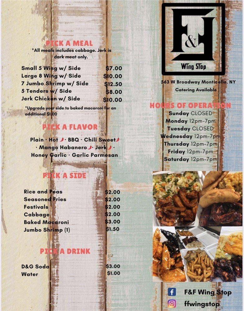 F&F Wing Stop: 563 W Broadway, Monticello, NY