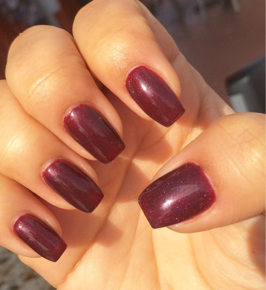Coffin burgundy gel nails! But too narrow, LOVE them! - Yelp