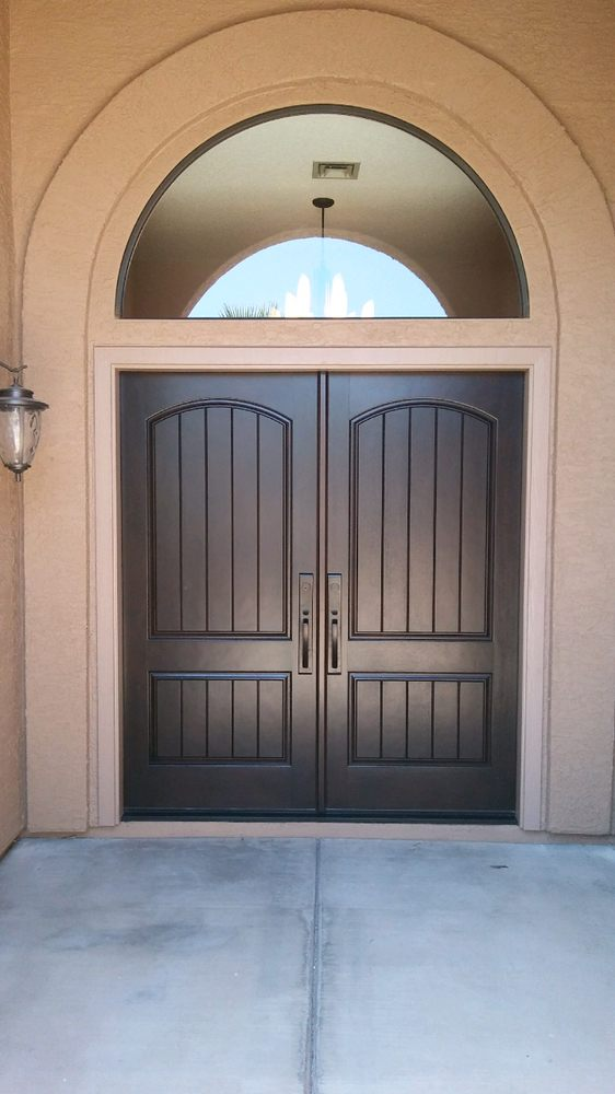 Photo of Precision Fit Doors and Windows - Phoenix AZ United States. Thermatru & Thermatru CCR205 two panel top rail arch mahogany grain fiberglass ...