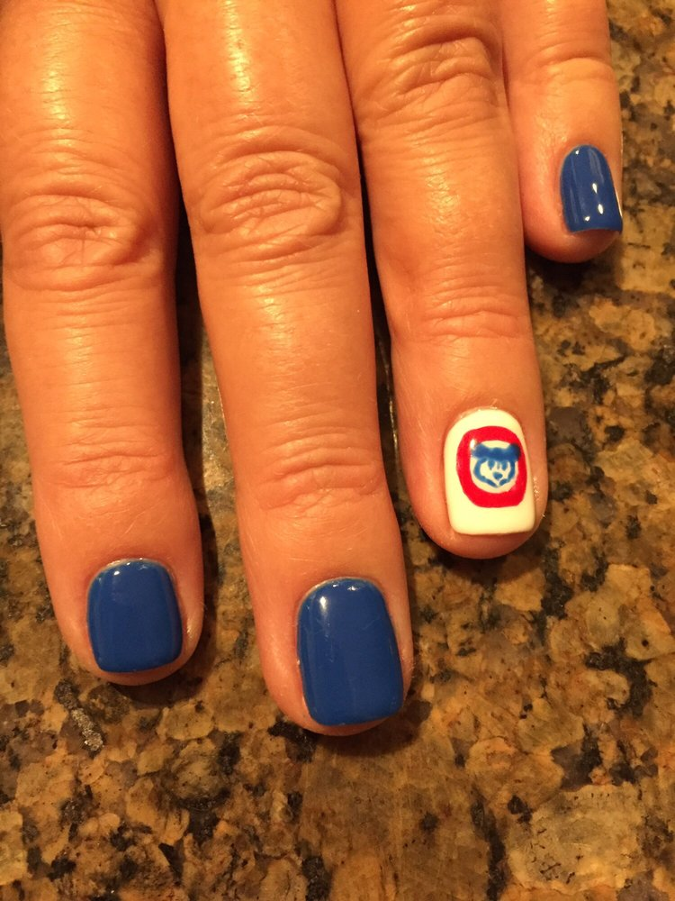 cubs theme no chip mani  great attention to detail  yelp photo of grand nails chicago il united states cubs theme no chip
