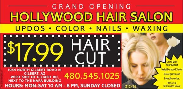 Hollywood hair salon tanning 1054 n gilbert rd for 20 volume salon gilbert