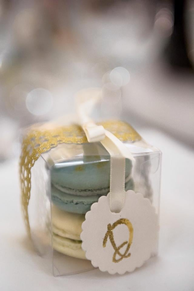 White Chocolate Buttercream And Green Tea Macarons Wedding Favors