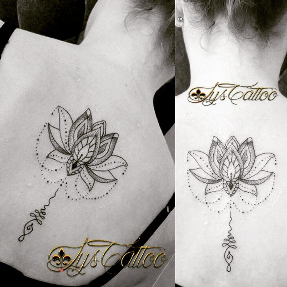 Tatouage dos femme; lotus, perles et unalome; lignes et dotwork by lys tattoo votre salon de ...