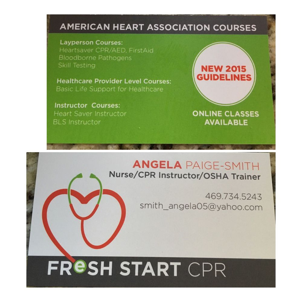 Fresh Start Cpr Cpr Classes Lewisville Tx Phone Number Yelp