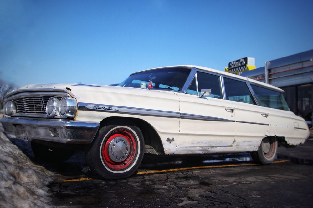 Definitely old school. This is a 1964 Ford Country Sedan 9-passenger ...