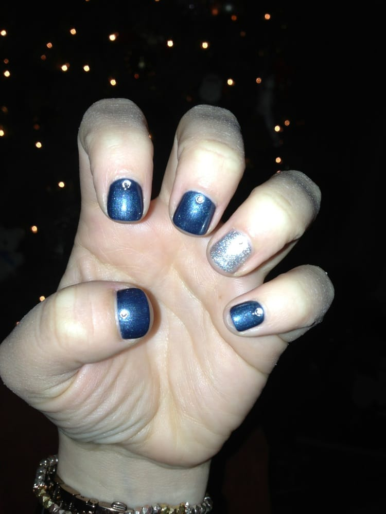 Navy blue with silver ring finger gel nails - Yelp