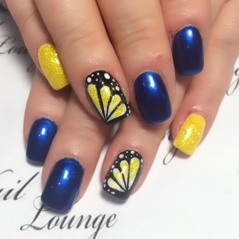 Bright and dark summer nails with yellow glitter. .. Art Work from ...