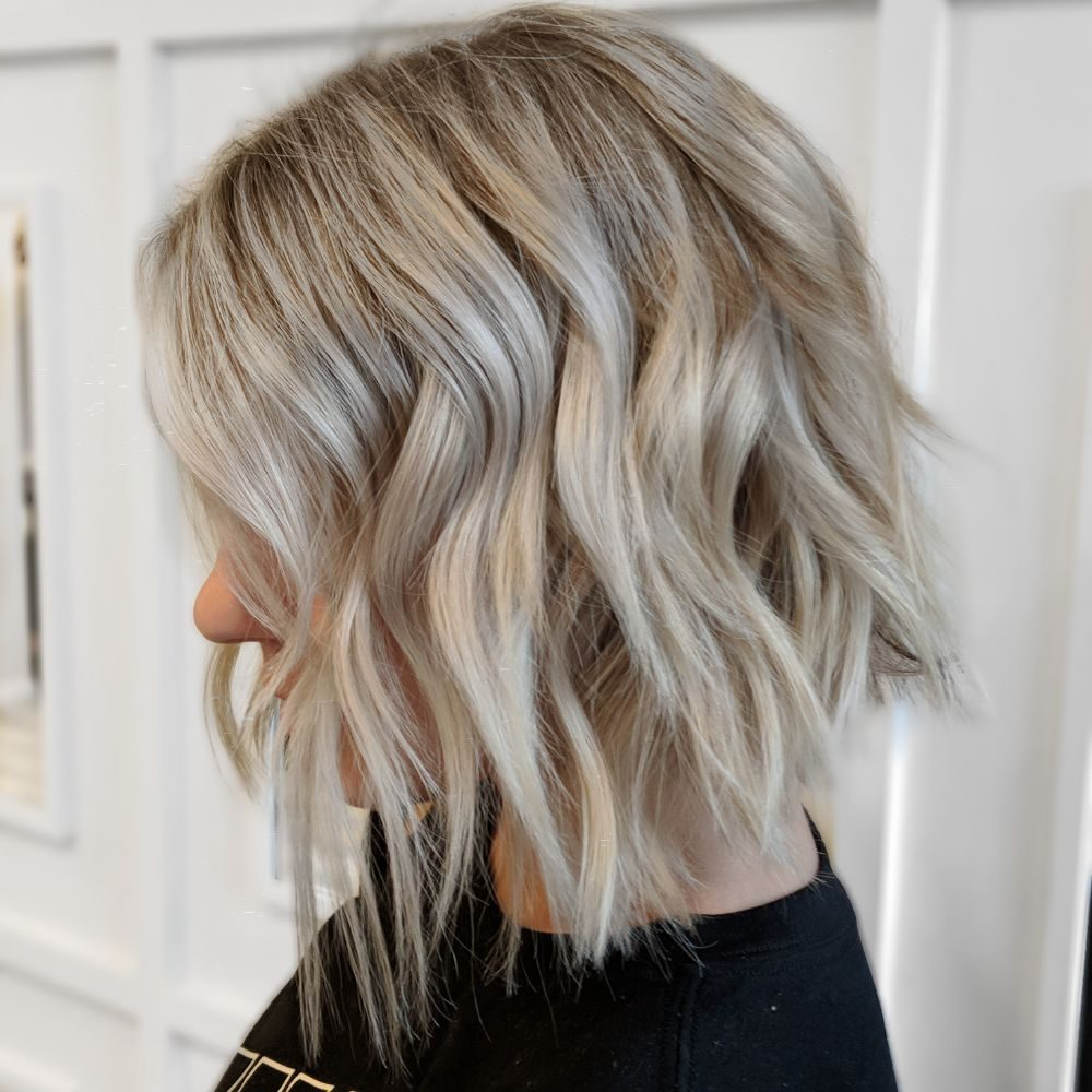 Bright Cool Blonde And Textured Bob Haircut Yelp