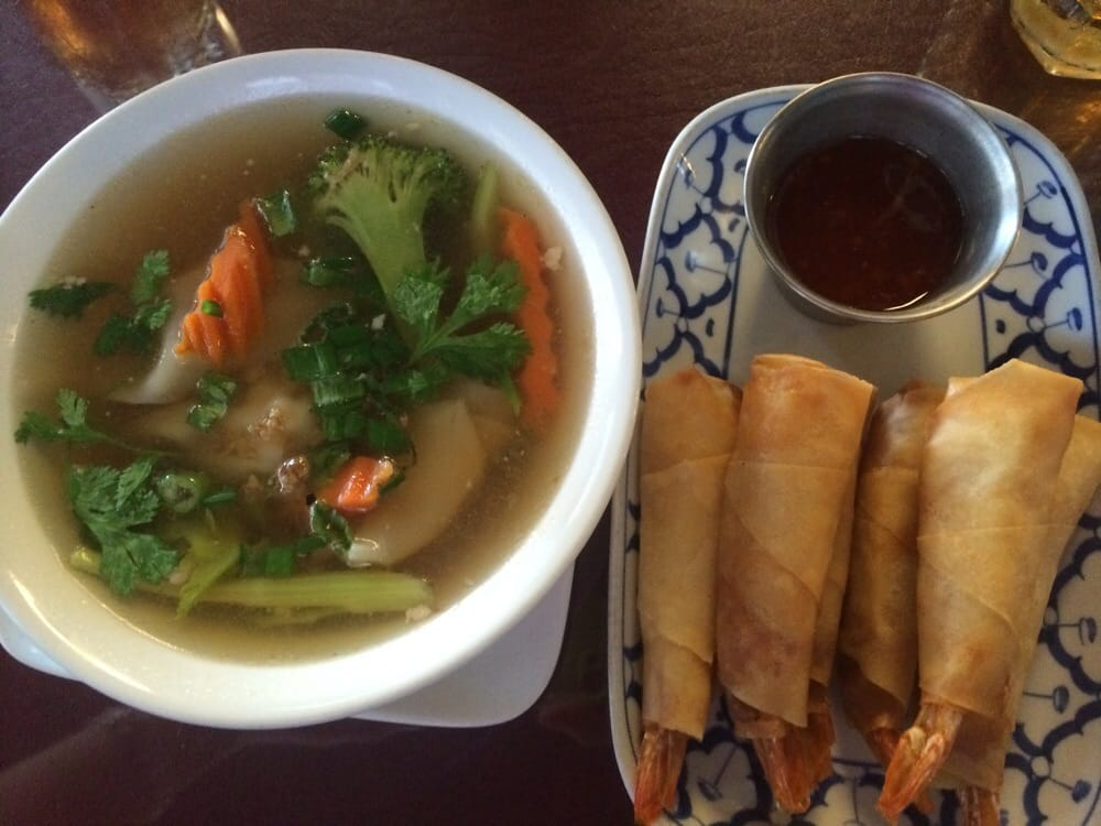Shrimp appetizer and wonton soup decent thai food more for 101 soup cuisine