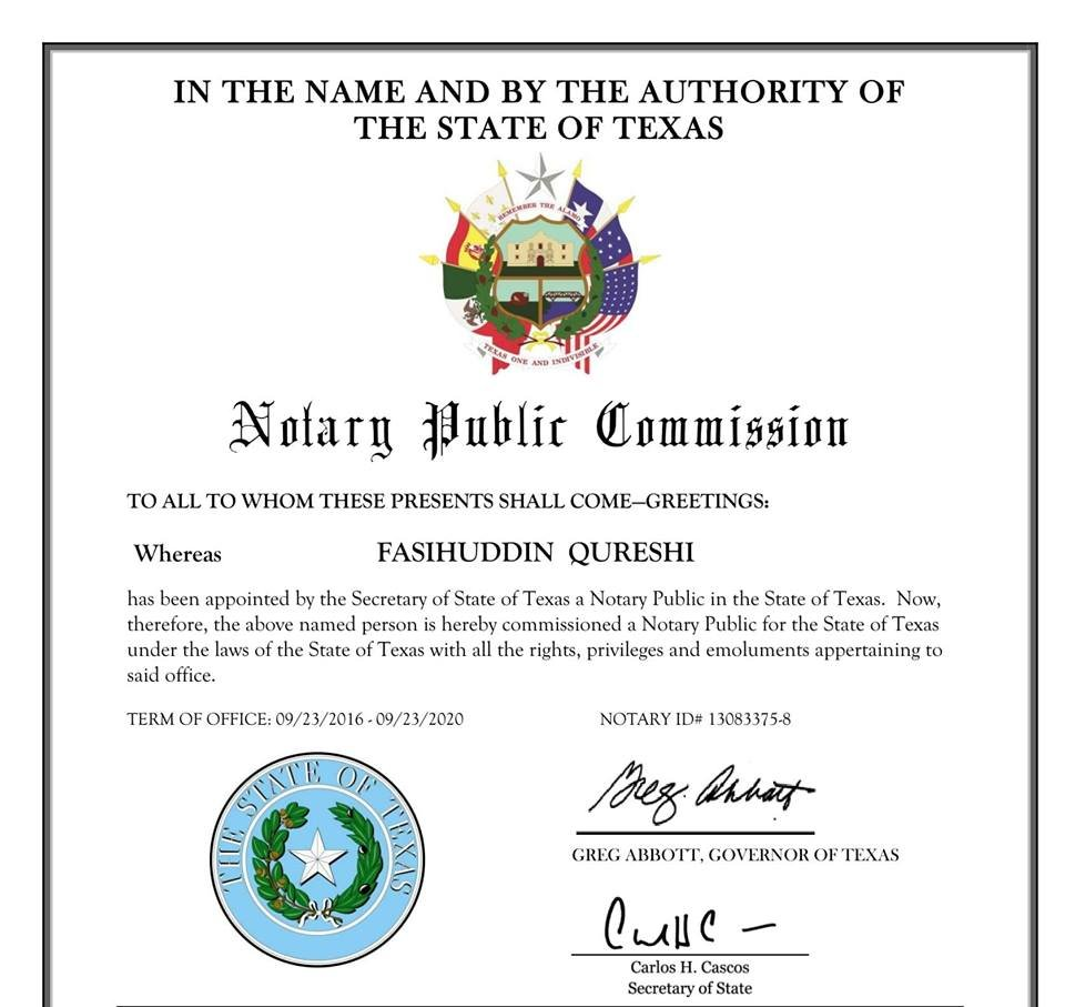 notary public: 6300 Roundrock Trl, Plano, TX