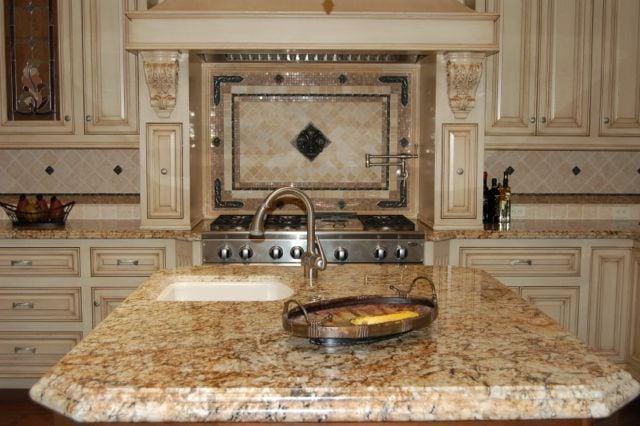 Granite countertop with tile backsplash yelp for Granite countertop support requirements