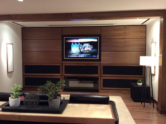 Family Room With Recessed Tv Custom Art Screen Drop Down