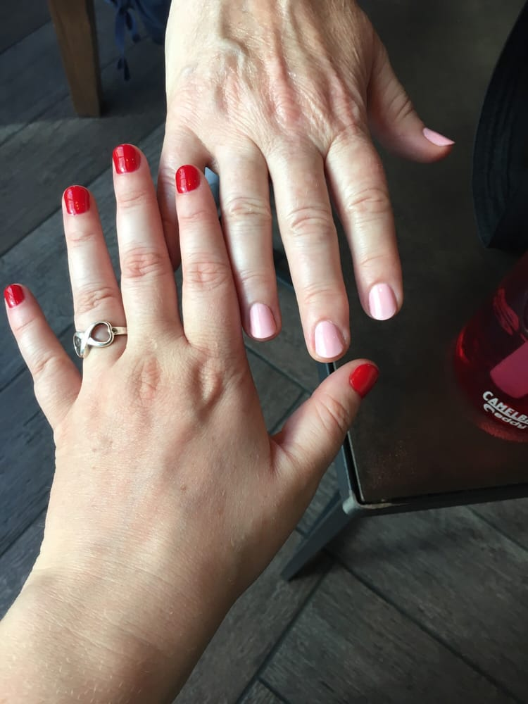Red no chip, pink basic coat. Great Job, Elegant Nails!! - Yelp