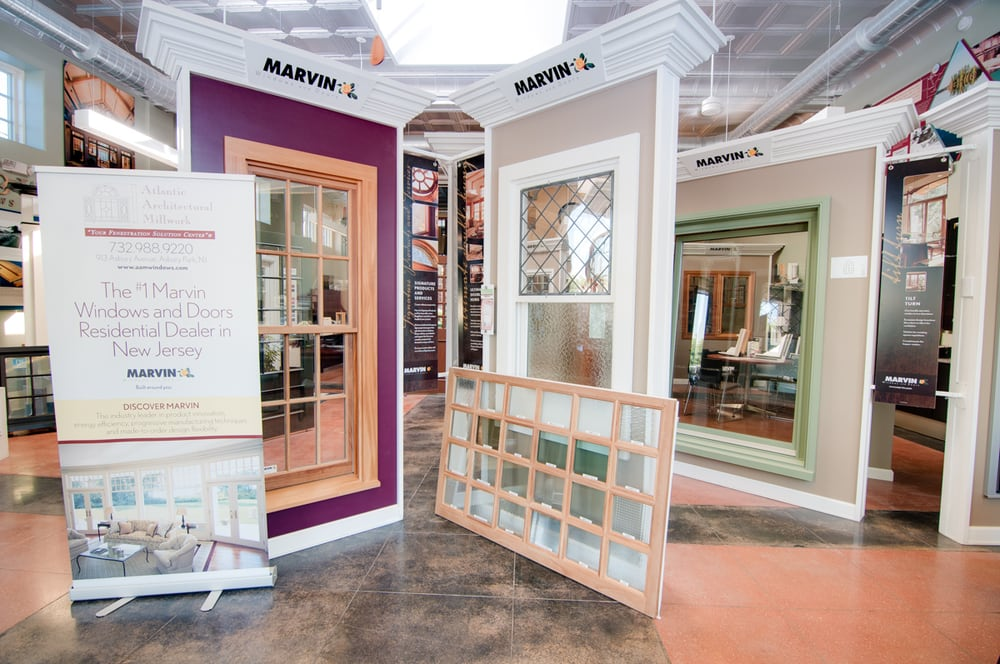 the atlantic architectural showroom showcasing marvin windows and