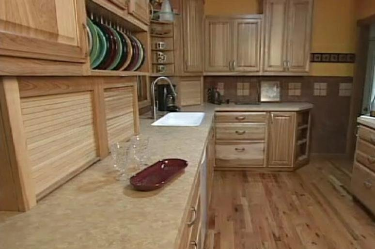 Hickory Cabinets And Flooring In A Post War Colonial Kitchen ...