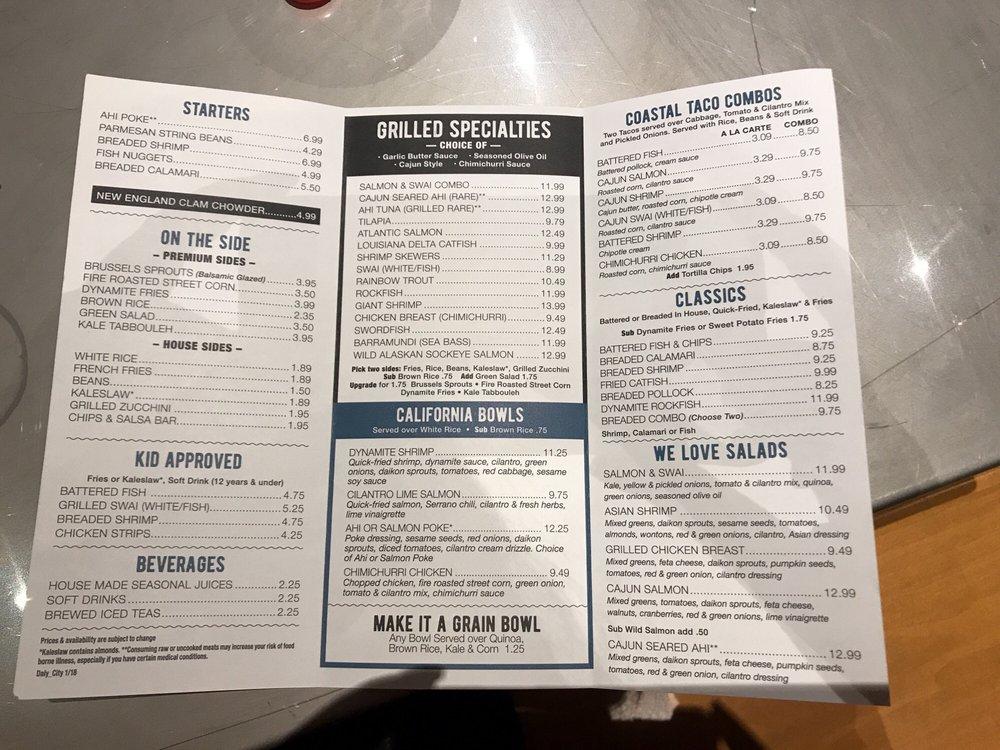 Menu yelp for California fish grill menu