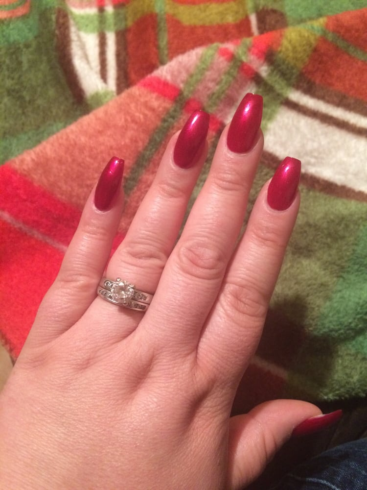 Red nails coffin shape - Yelp