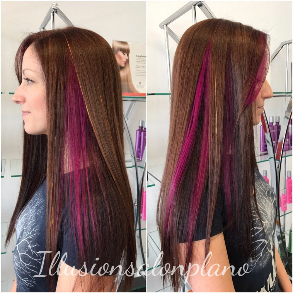 Peek A Boo Magenta Pink Highlights With Copper Hair Blings Yelp