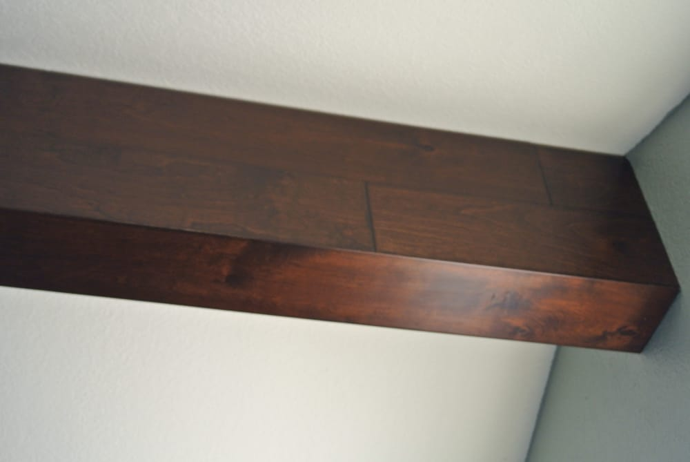 We Wrapped A White Drywall Ceiling Beam With Distressed