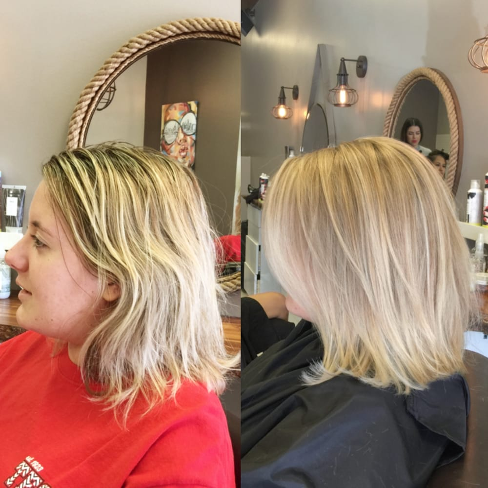 Transition from foil highlights to balayage by nick yelp for Nick s hair salon