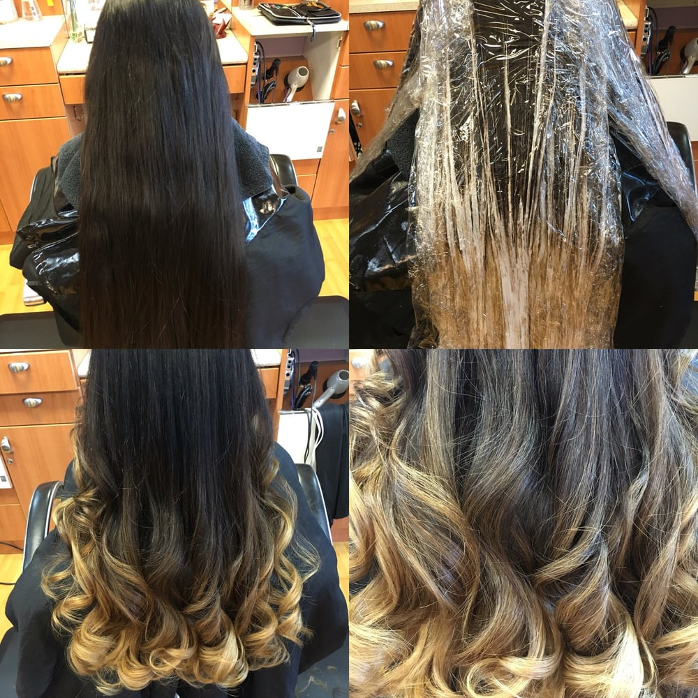 Bayalage before during and after done by stephanie yelp for Allure hair salon