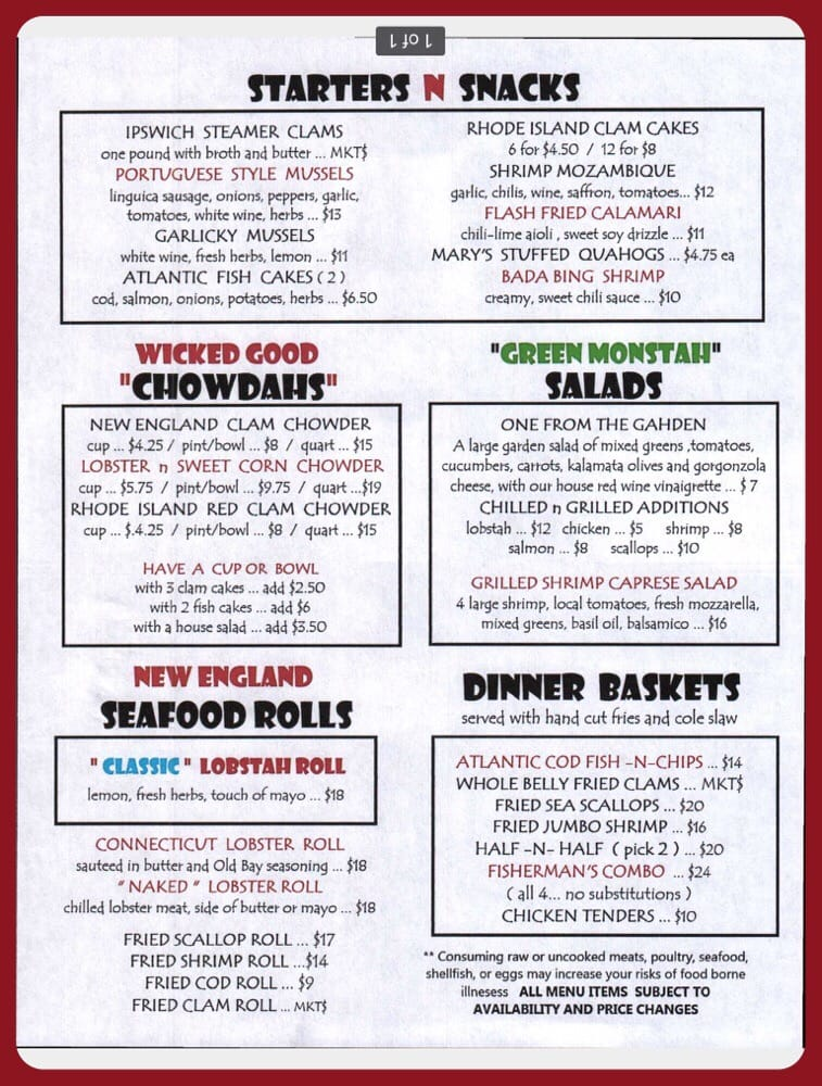 New menu more authentic new england seafood yelp for One fish two fish menu