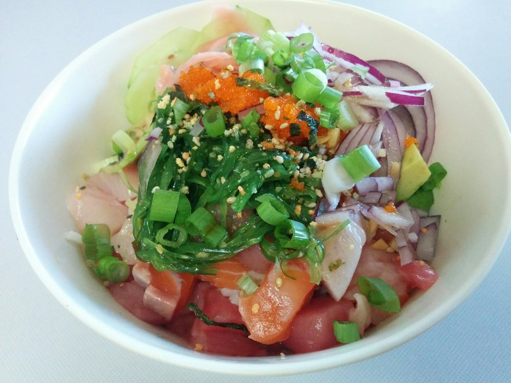 Homemade poke bowl with salmon hamachi bluefin and for Sunh fish sacramento
