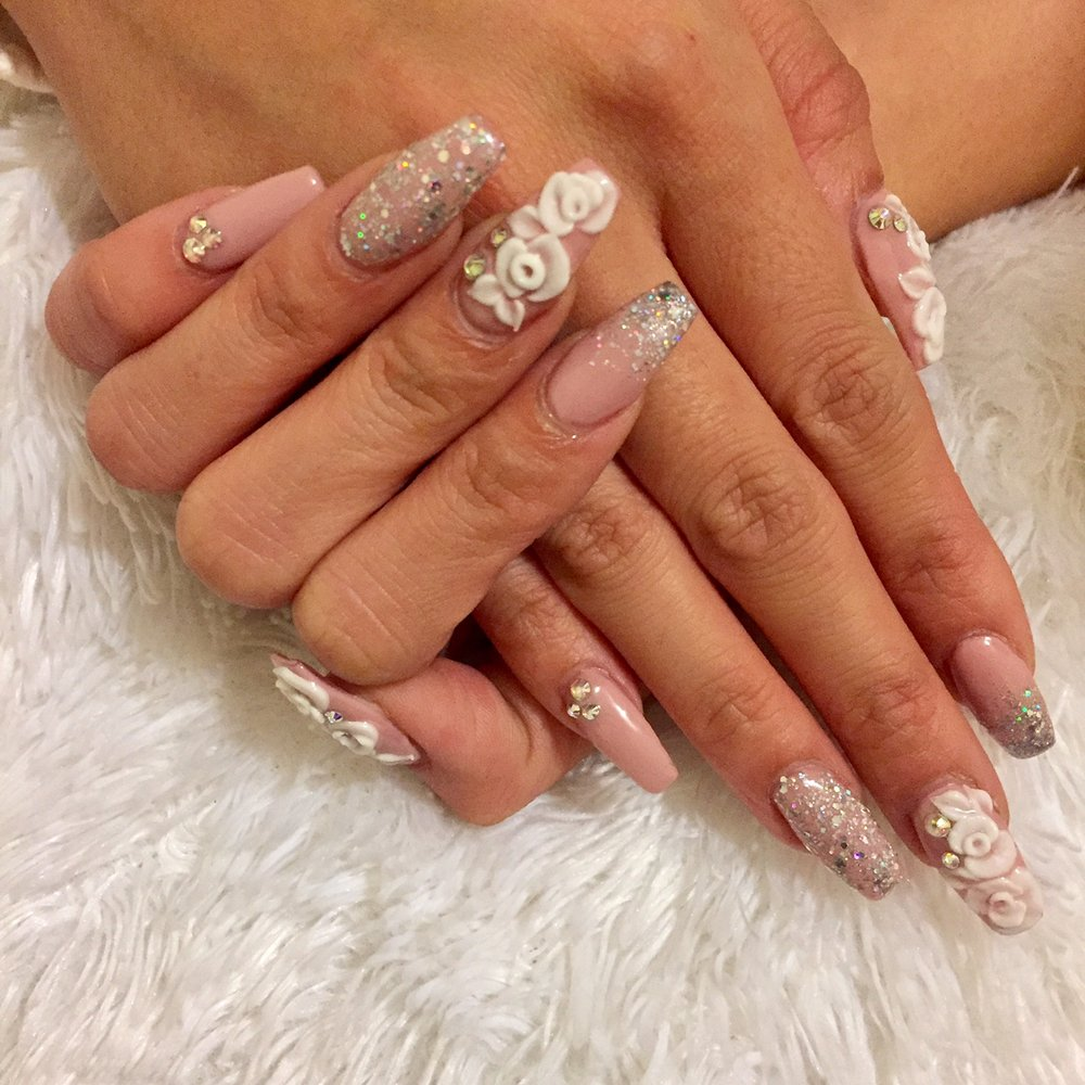 Coffin Shape Acrylic Nails With 3d Design Glitter And Rhinestones