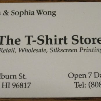 The t shirt store men 39 s clothing 1409 colburn st for Business cards for t shirt business
