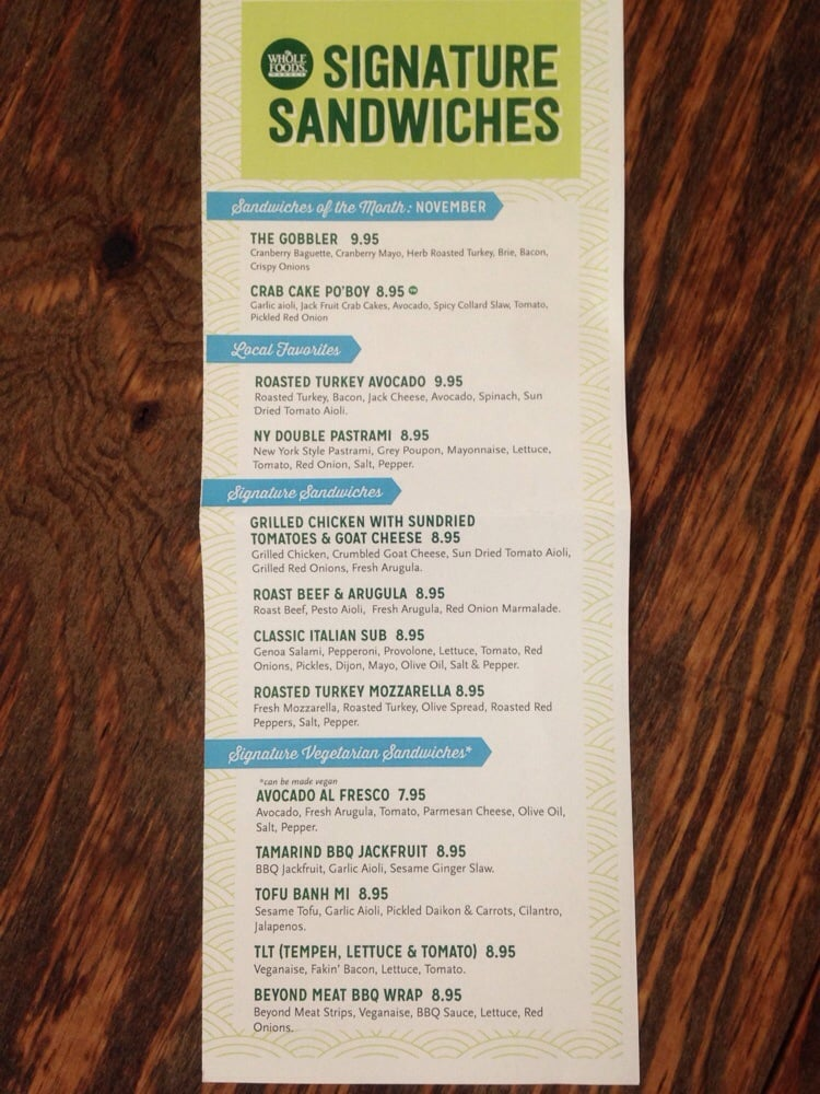 Signature sandwich menu November 2014 Yelp