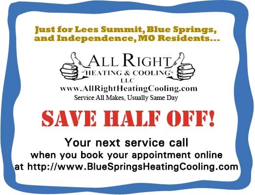 All Right Heating and Cooling: 309 NW 10th St, Blue Springs, MO