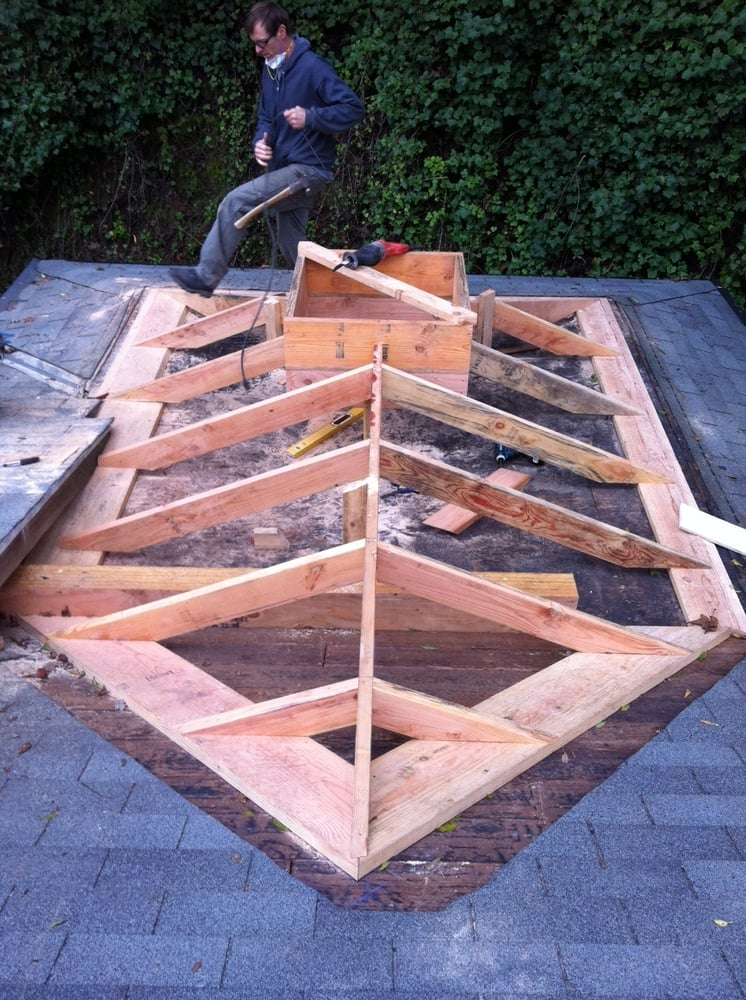Framing of a California hip roof. - Yelp
